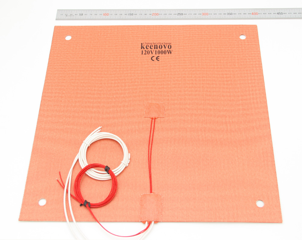KEENOVO Silicone Heater Pad 400x400mm for Creality CR 10 S4 3D Printer Bed w Screw Holes