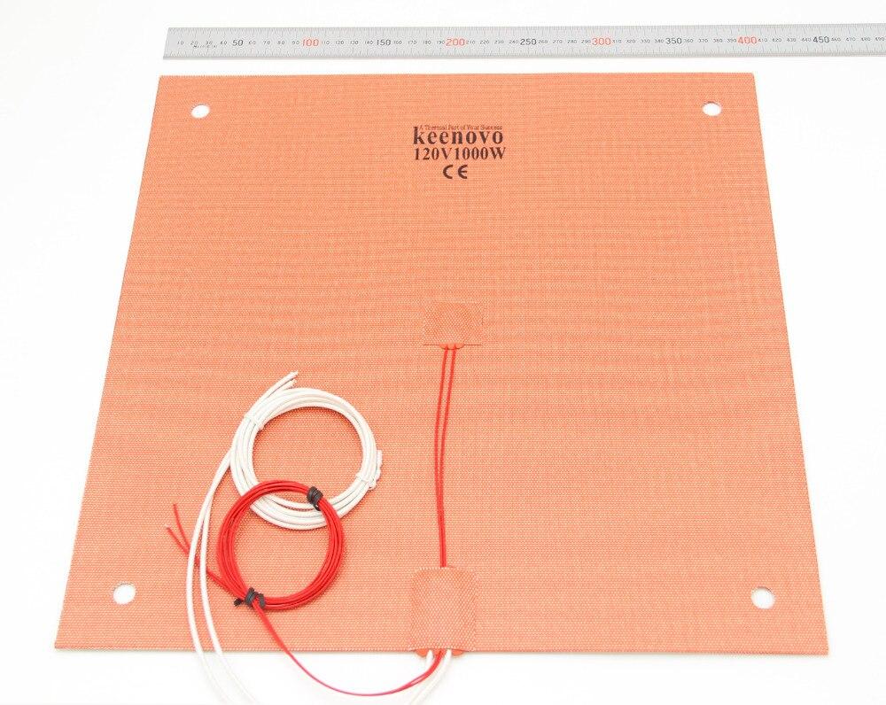 KEENOVO Coussin Chauffant En Silicone 400x400mm pour Creality CR-10 S4 3D Imprimante Lit w/Trous de Vis, support adhésif et Capteur