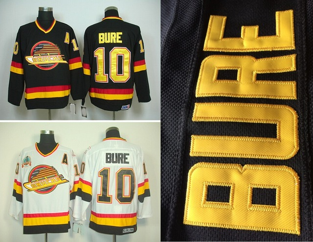 80f24d529b9 Hot Sale Men's Vancouver Canucks Hockey Jerseys #10 Pavel Bure Jersey Home  Black Vintage White CCM Stitched Jersey A Patch