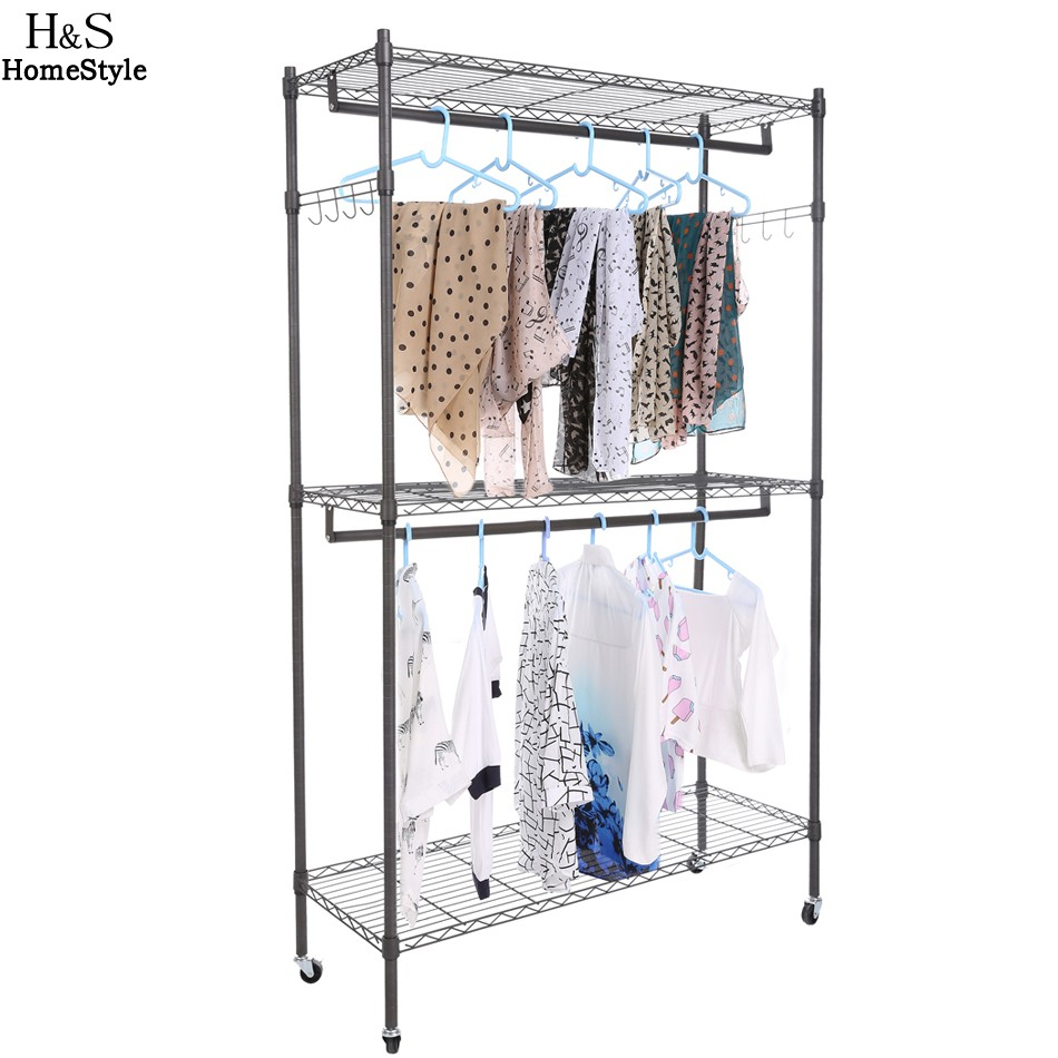 Homdox Large Portable 3 Tier Wire Shelving Clothes Shelf