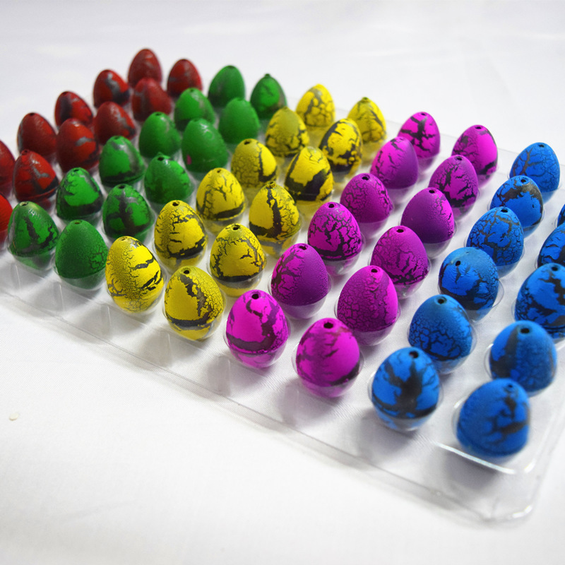 60pcs Small childrens educational toy color crack Magic Water Hatching Inflation Growing Dinosaur Eggs Toy Action Figure Toys