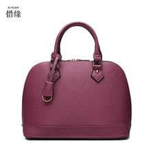 XIYUAN BRAND purple Real Cow Leather Ladies Hand Bags Women