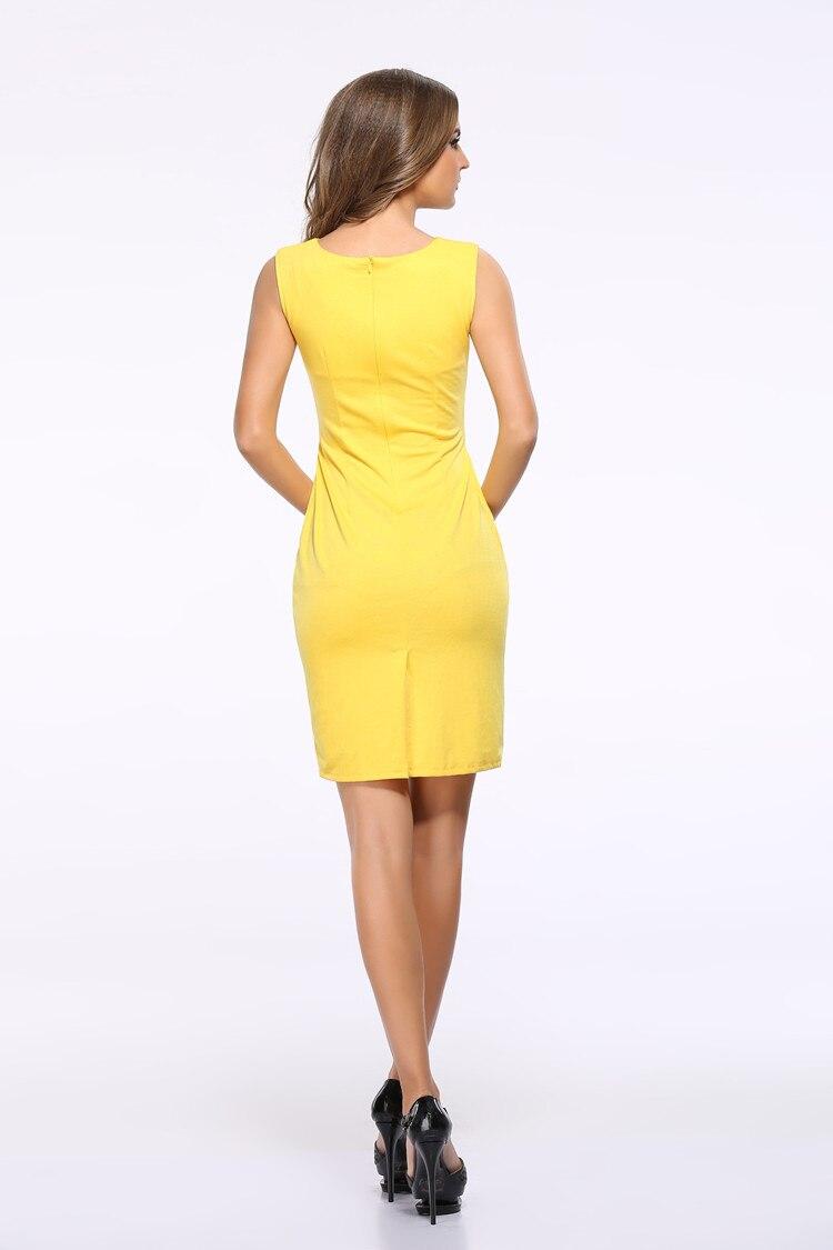 Women Summer Dress Fashion Hollow Out Sleeveless Pencil Dress Knee Length Women Casual Dresses Yellow Red Blue Black Plus Size 4