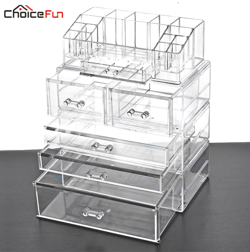 CHOICE FUN Home Desktop Table Vanity Large Storage Box Organization Clear Acrylic Drawers Make Up Makeup
