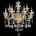 12 Luzes vela k9 candelabro de cristal de Ouro Europeus Vela Lustres de Cristal Do Teto Quarto Sala Modern E14