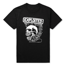High Quality Men T Shirts Punk Rock The Exploited Printed T-shirt Casual Short Sleeve for Men's Clothing Summer Swag Skull