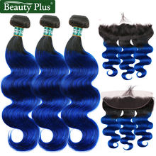 Blue 3 Bundles With Closure 13x4 Frontal With Bundles Nonremy Beauty Plus Malaysian Sapphire Ombre Colored Bundles With Closure(China)