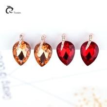 Women Teardrop Crystal Clip Earrings Without Piercing Jewelry Brand Design Stylish Trendy 6 Colors Zirconia Cuff