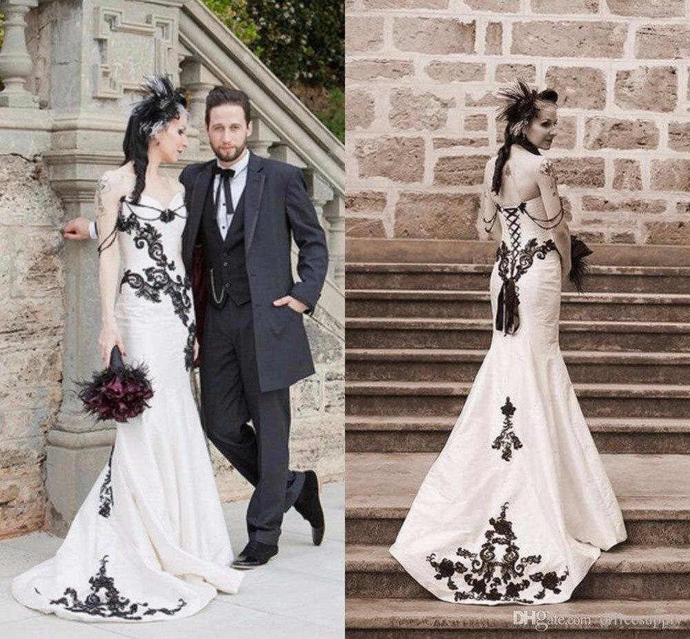Weiße und Schwarze Spitze Gothic Brautkleider 2017 Vestidos de Novia ...