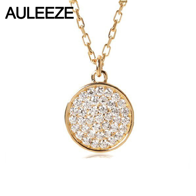Auleeze round shape 015cttw real diamond pendant diamonds pave set auleeze round shape 015cttw real diamond pendant diamonds pave set 18k yellow gold natural diamond mozeypictures Gallery