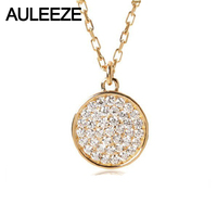 AULEEZE Round Shape 0.15cttw Real Diamond Pendant Diamonds Pave Set 18K Yellow Gold Natural Diamond Pendant Necklace