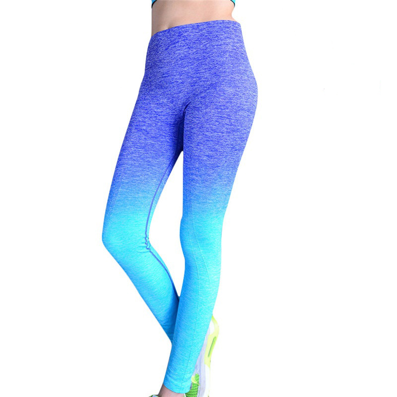 ZELLY Women Fitness Leggings Ombre Color Workout Pants High Waist Elastic  Trousers Sexy Bodybuilding