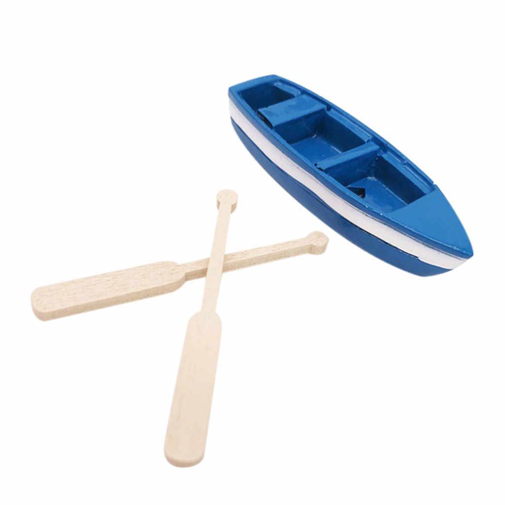 Exquisito Mini bote azul miniatura para 1/12 casa de muñecas sala de estar decoración casa de muñecas accesorios Puerta ratón Perez