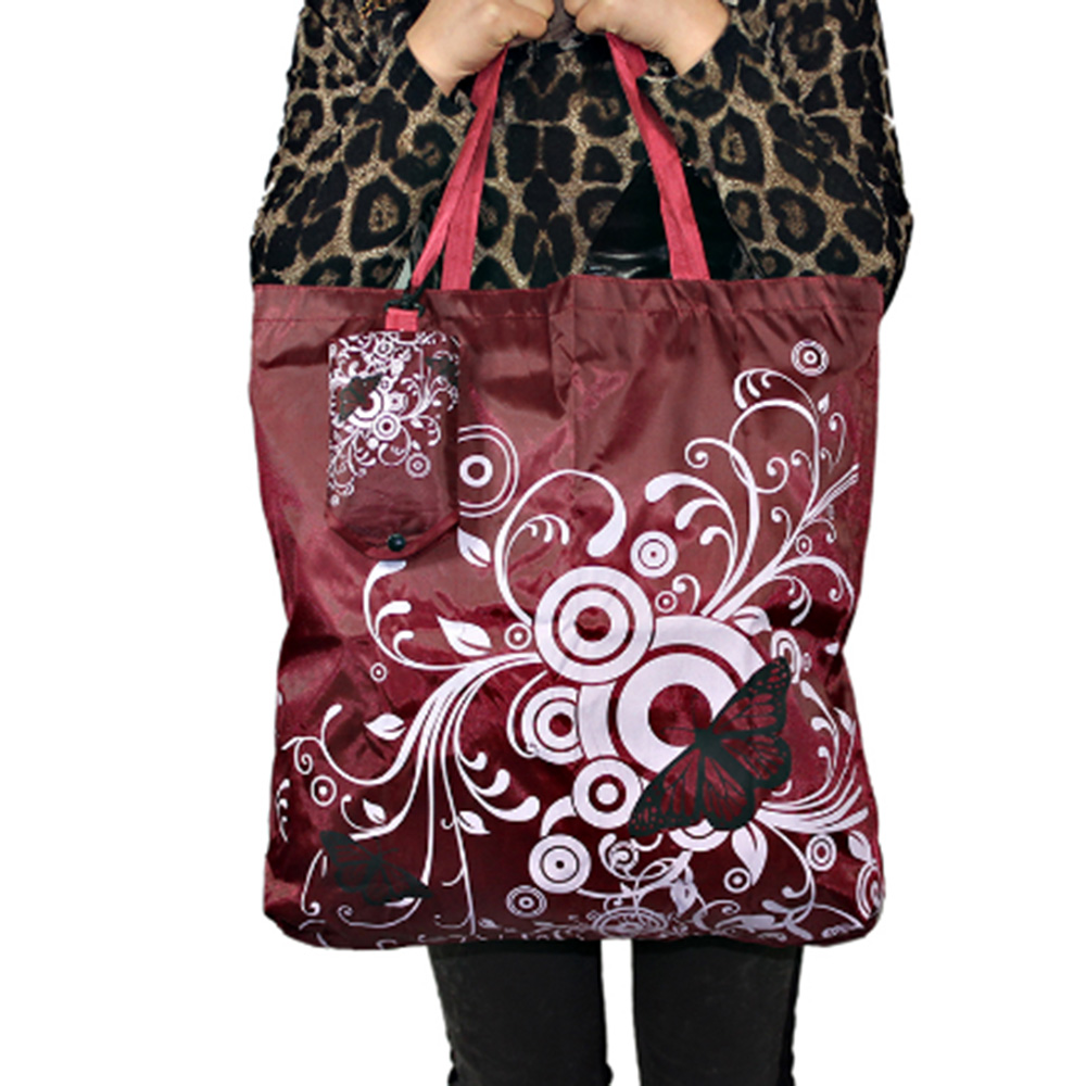 Butterfly Square pocket Shopping bags large Travel Grocery Eco-friendly foldable handle reusable Portable Shoulder Polyester Bag sweet years sy 6128l 21