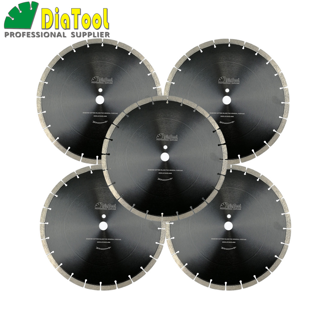 DIATOOL 5pcs/set 14inch Professional segmented Sintered Diamond saw blade for concrete Block Paver Dia 360mm Wet Cutting Disc 2 pcs super thin sintered diamond blade cutting disc for jade agate stone wet grinding with cooling water jgs031