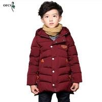Boy's Child Wadded Jacket Outerwear Medium Long Cotton Padded Jacket Thickening Children's Clothing Winter Warm Kids Coat 5 16T