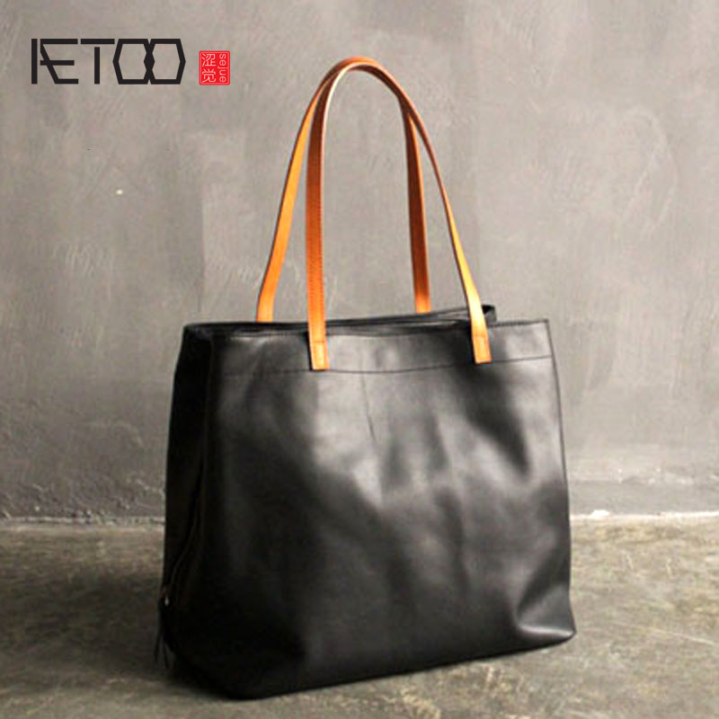 AETOO New handmade leather shoulder bag personalized simplicity imported first layer of leather wild bag handbag qiaobao 2018 new korean version of the first layer of women s leather packet messenger bag female shoulder diagonal cross bag