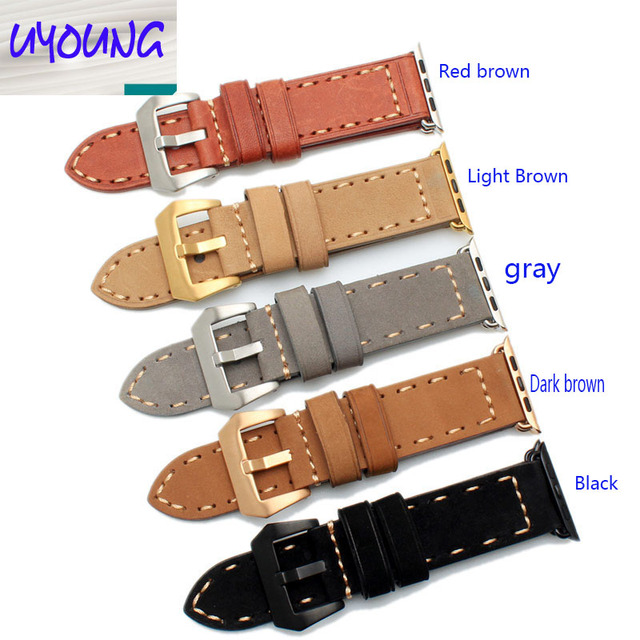 US $20 0 |UYONG Apple strap i watch 38MM 42MM men and women scrub leather  watch strap Black brown-in Watchbands from Watches on Aliexpress com |