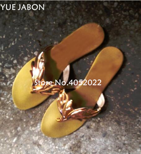 Haute qualité Top Design pantoufle sandales femmes feuille diapositives tongs appartements ange aile femmes pantoufles plage chaussures d'été diapositives - 4