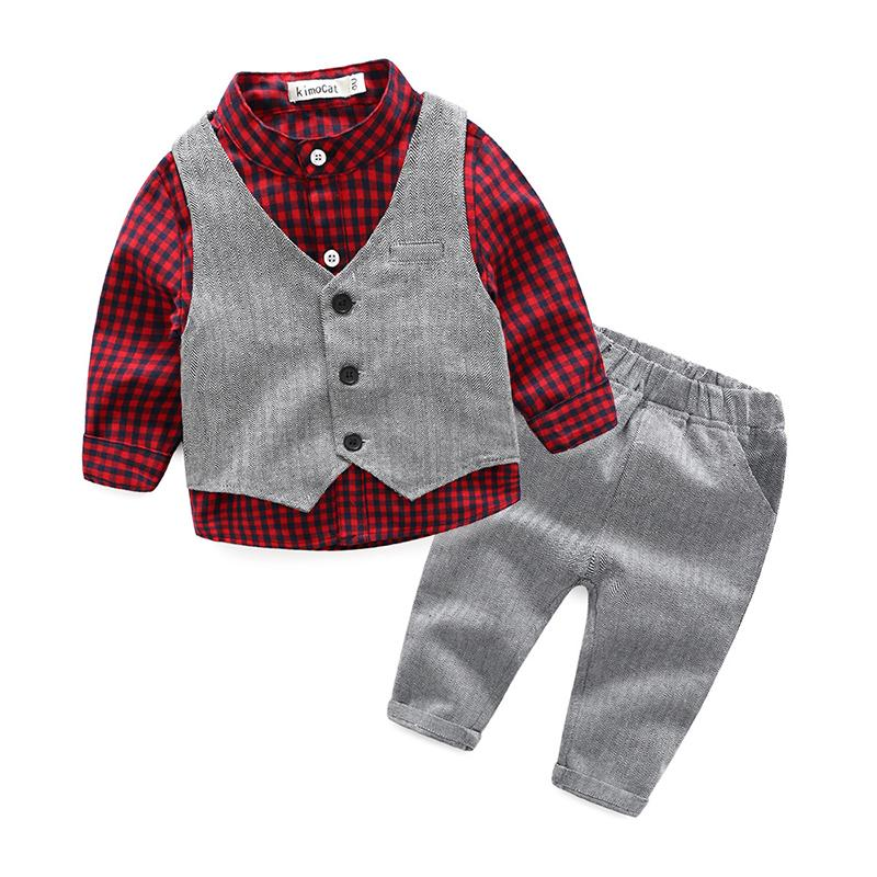 3pcs Newborn Suits 2018 New Spring Formal Baby Boys Clothes for Wedding Birthday Party Handsome Infant Clothing Set