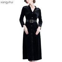 Office Work Dresses Black Velvet Long Sleeve Party Dress Vestidos Womens Winter Single Breasted Belted Knee Dress Autumn News
