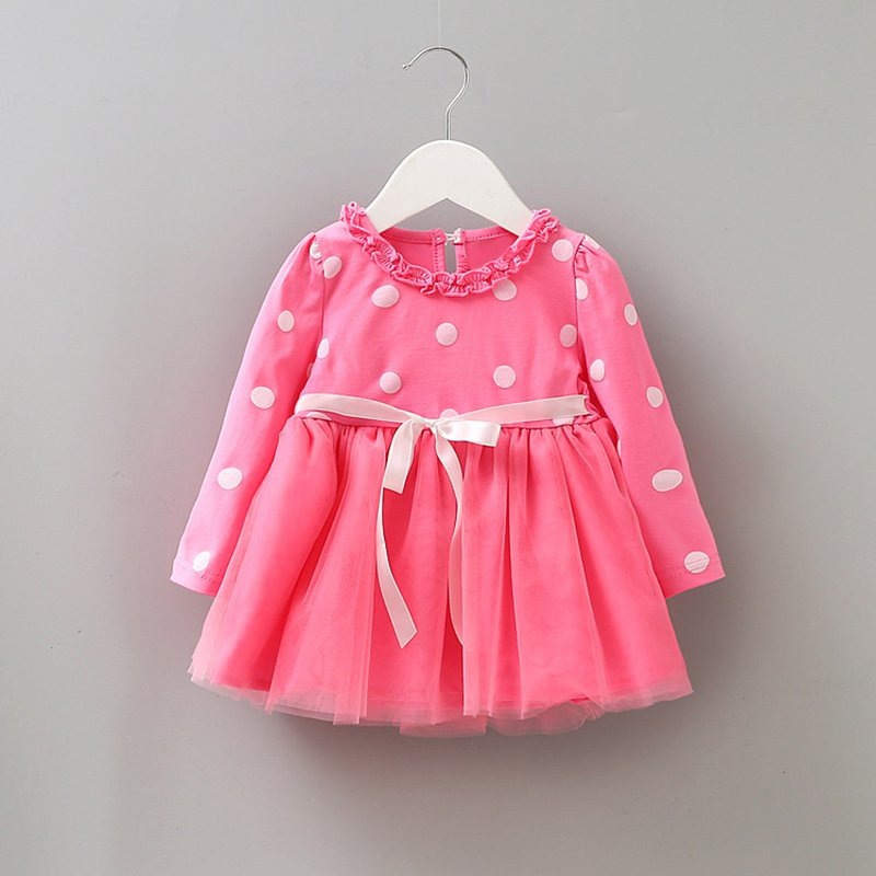 2018 New Baby Girls Bow-knot Dot Print Mesh Ball Gown Tutu Party Dress Spring Girl Dresses Vestido Infant S2