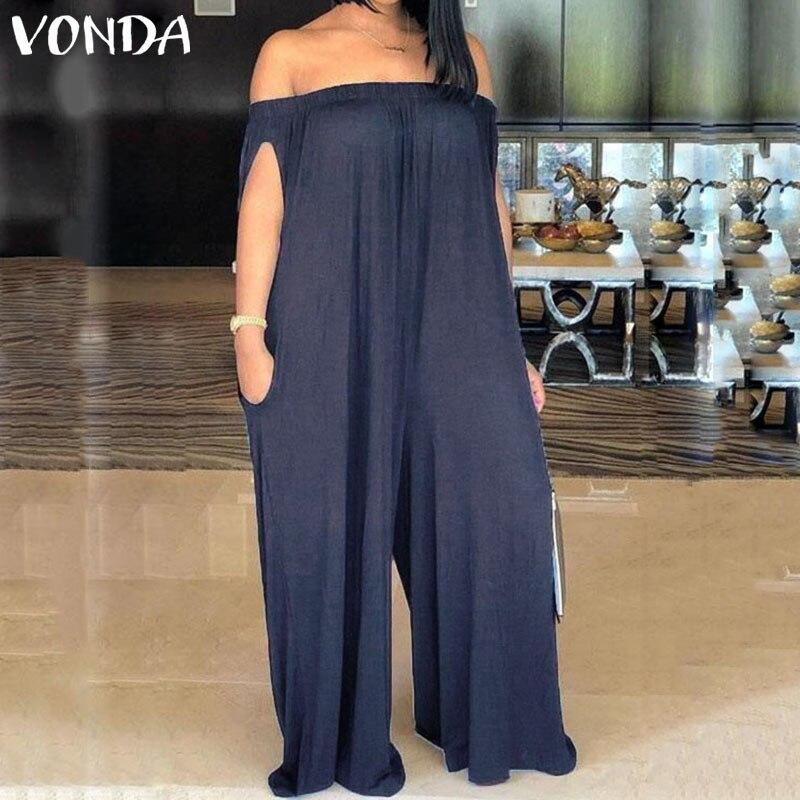 VONDA 2019 Summer Wide Leg Pants Women Sexy Off The Shoulder Jumpsuit Solid Overalls Vintage Causal Female Pantalon Playsuit 5XL