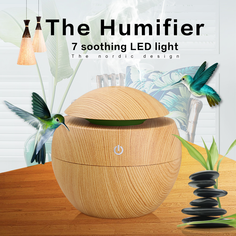 Mini humidificadores de aire de madera Gra aromaterapia humidificador ultrasónico difusor USB que cambia de Color LED