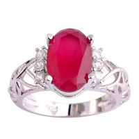 lingmei Wholesale Wedding Jewelry Ruby & White Topaz 925 Silver Ring Size 6 7 8 9 10 11 Women Fashion Party Rings Free Shipping