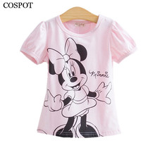 COSPOT Baby Girls Tshirt Girl Summer Short-Sleeved Casual T-shirts For Kids Children's Cotton Tops Girl's Summer Tee 2017 10C