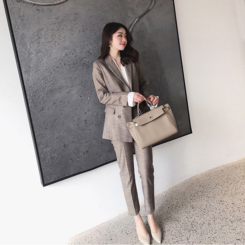 2019 women's two-piece suit Women's office suit Korean version of the slim long-sleeved small suit jacket female Pants suit