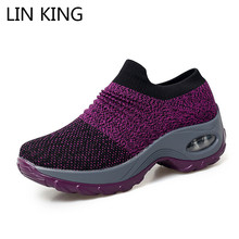 Купить с кэшбэком LIN KING New Arrivals Big Size Fashion Women Shoes Tenis Feminino Light Breathable Mesh Shoes Woman Casual Shoes Ladies Sneakers