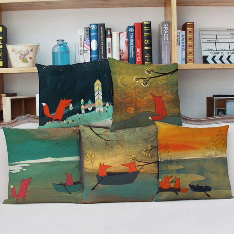 Hot Sale Cute Wild Animal Fox Pillow Case Cotton Linen Chair Waist Seat Square 45x45cm Pillow Cover Home Living Textile