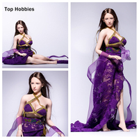 1 6 Female Ancient Brothel Courtesan Dancer Sexy Open Long Skirt Dress Purple Flower Fit 12Inch