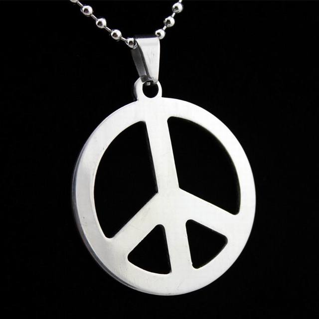 Retail hippie stainless steel jewelry silver peace sign pendant retail hippie stainless steel jewelry silver peace sign pendant necklace for men with steel ball chain aloadofball Images