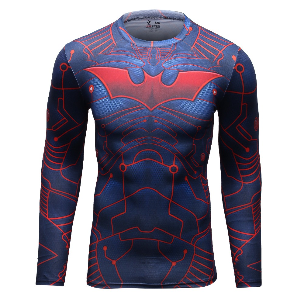 New sport fitness compression shirt men bodybuilding for Long sleeve sports shirt