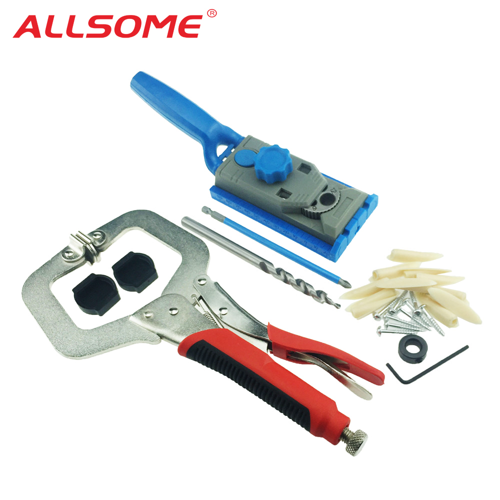 ALLSOME Woodworking Pocket Hole Jig 9.5mm Drill Guide Sleeve Wood Drilling Dowelling Hole Saw Master System Set C Clamp