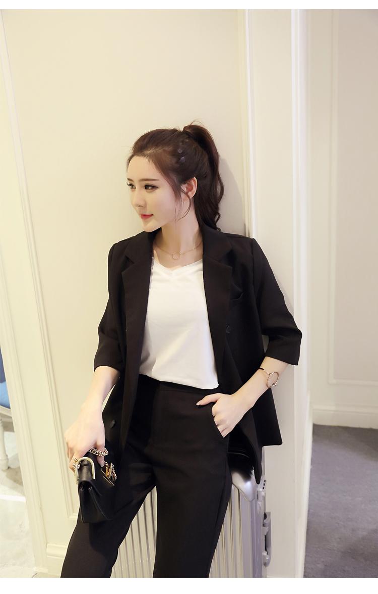 a9c3c37389 Conjunto femenino 2018 primavera y verano nuevo estilo temperamento moda negro  traje pequeño + nueve pantalones elegantes ocio dos- pieza