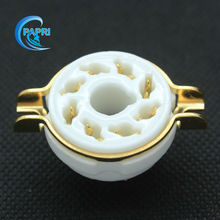 Free Shipping 10PCS ceramic 8pin Gilded K8A Chassis Mount Vacuum tube socket FOR EL34 KT88 6SN7