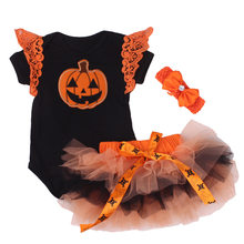 Newborn Clothes My 1st Halloween Baby Black Pumpkin Tutu Dress Jumpsuit Headband Outfit Baby Girl Clothing Party Costume Romper(China)