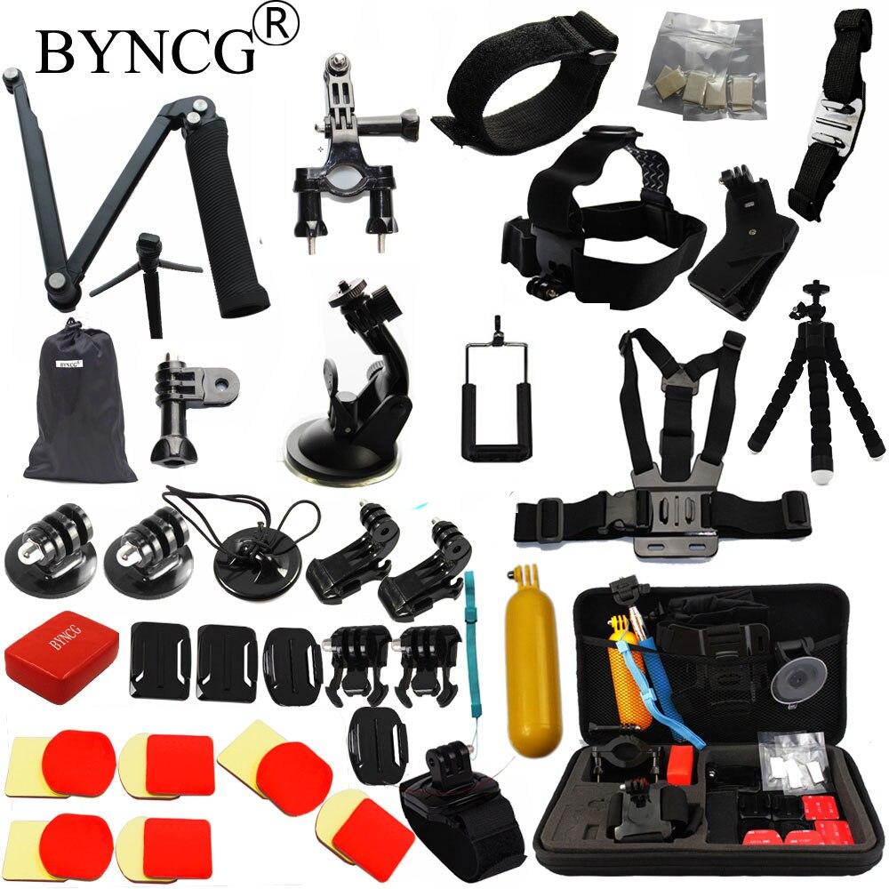 BYNCG for Gopro hero 6 Accessories Set for go pro 5 4 3 kit 3 way selfie stick for Eken h8r for xiaomi for yi EVA case T88 era pro ep 010933 eva 9 5 6 5 3