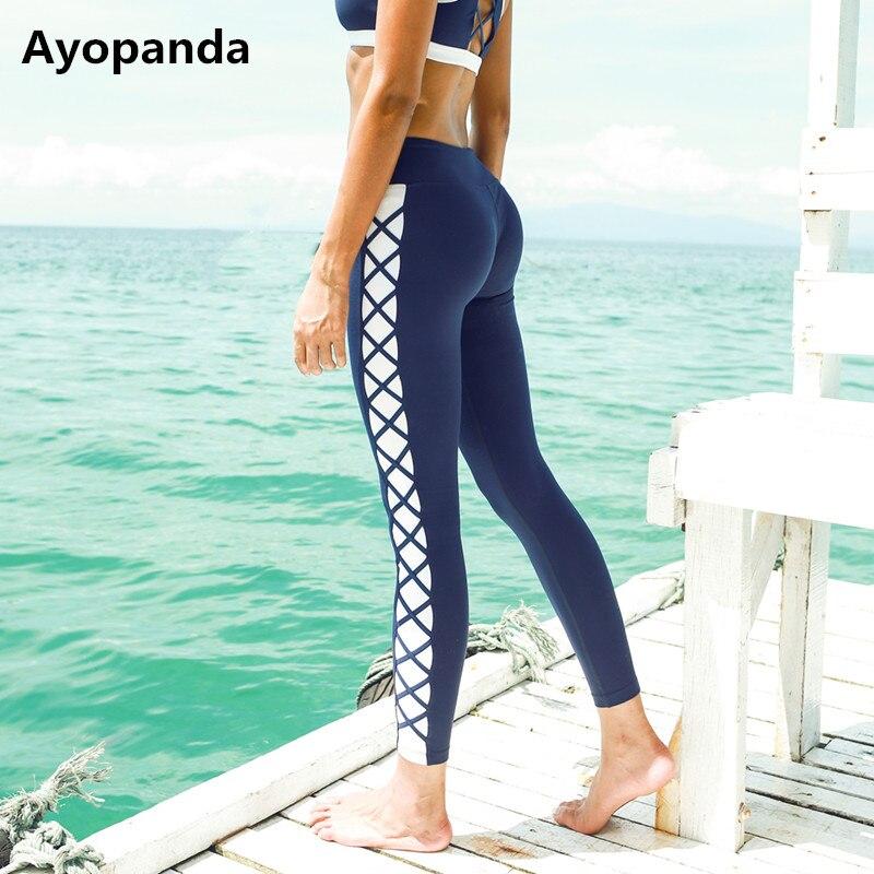 Ayopanda 2017 Women Side Cross Yoga Pants Female Contrast Fitness Legging medium Waist Gym Running Tights Workout Trousers