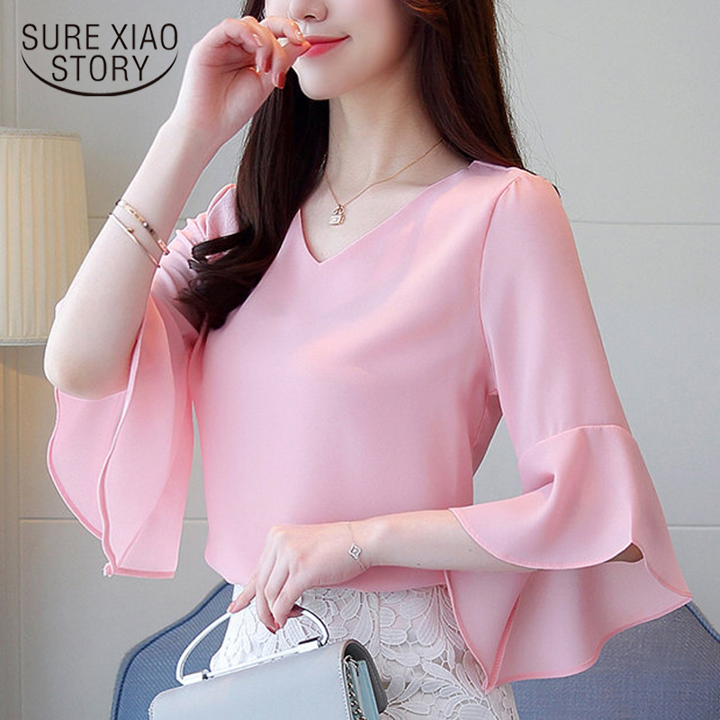 New 2018 Spring Fairy Elegant Women Blouse Shirt Lady Casual Long Sleeve Ruffled Loose Slim Solid Top Chiffon Shirt 0541 30
