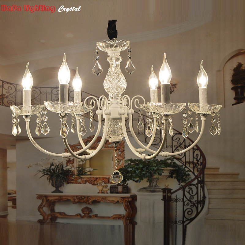 White iron crystal chandelier modern lighting fixture for for Modern crystal chandelier for dining room