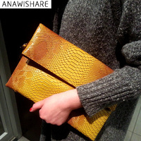 ANAWISHARE Women Day Clutches Bags Serpentine Leather Messenger Crossbody Bags Ladies Evening Party Bags Designer Handbags M85