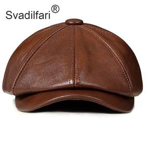 Image 2 - Retro Octagonal Genuine Leather Hat Autumn Mens Cowhide Leather Beret Elegant Fashion Student Tongue Cap Snapback Caps For Men