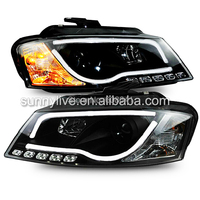 For Audi A3 LED Head Light with projector lens 2008 2012 Year SN Black Housing