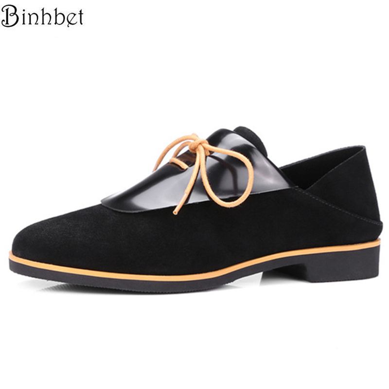 Binhbet Genuine Leather Fashion Lace-Up Brogue Shoes Woman Spring/Autumn Women Oxfords Round Toe Flats 2018 Women Causal Shoes qmn women crystal embellished natural suede brogue shoes women square toe platform oxfords shoes woman genuine leather flats page 1