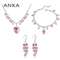 ANKA crystal heart necklace set jewelry sets wedding jewelry sets rhodium plated necklace women Crystals from Austria #94414