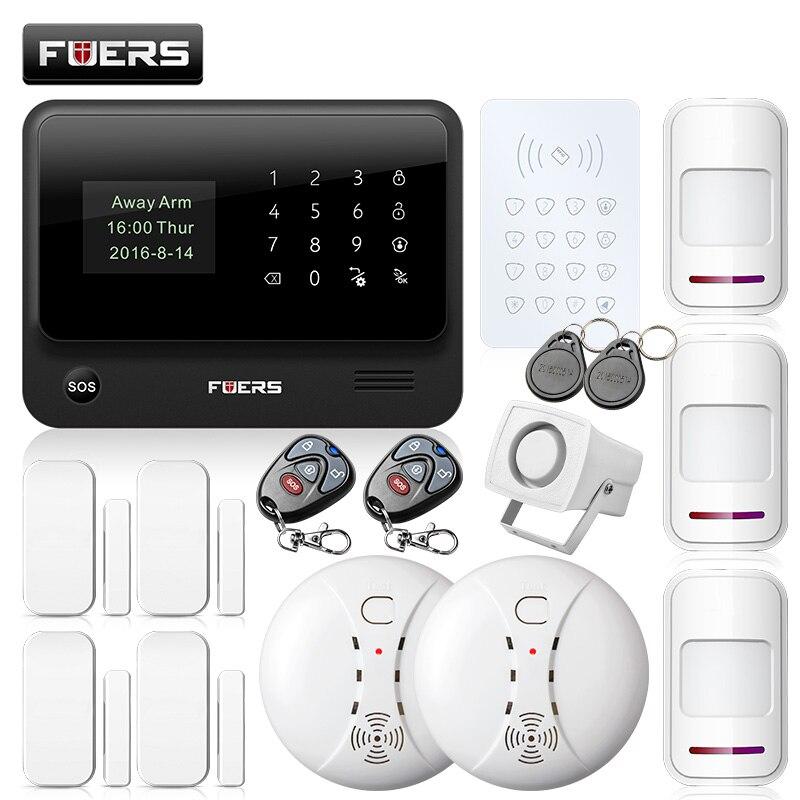 Fuers WiFi GSM GPRS SMS G90BPlus Wireless Security Home Burglar Alarm  System APP Control Keyboard IP Camera pir sensor siren kit